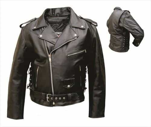bedinhome - AL2003 Men'S Motorcycle Biker Split Cowhide Leather Zippered Sleeves Side Laces Jacket Half Belt With Belt Buckle - All State Leather - Men's Leather Jacket