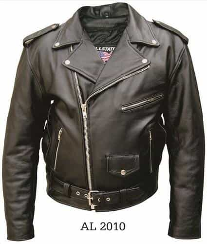 bedinhome - AL2010 Men'S Motorcycle Biker Premium Buffalo Leather 3 front Zippered Pockets Jacket With Silver Hardware - All State Leather - Men's Leather Jacket