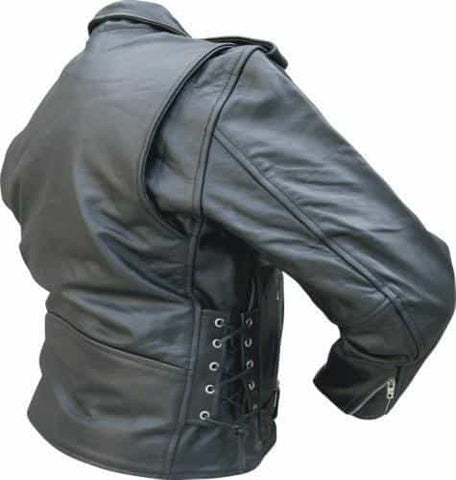 bedinhome - AL2011 Men'S Motorcycle Premium Buffalo Leather 3 front Zippered Pockets Jacket With Silver Hardware - All State Leather - Men's Leather Jacket