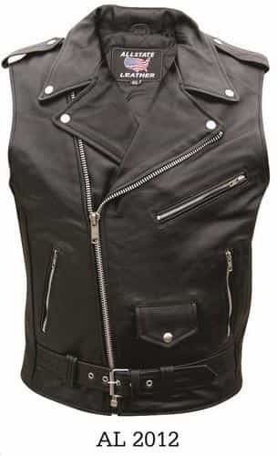 bedinhome - AL2012 Men'S Motorcycle Biker Premium Buffalo Leather 3 Zippered Pockets Sleeveless Jacket With Silver Hardware - All State Leather - Men's Leather Jacket
