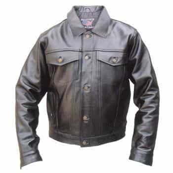 bedinhome - AL2013 Men'S Motorcycle Biker Premium Buffalo Leather 2 Chest Pocket Denim Style Jacket - All State Leather - Men's Leather Jacket
