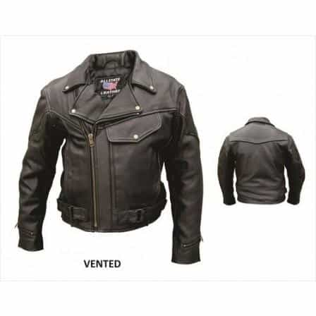 bedinhome - AL2014 Men'S Motorcycle Biker Premium Buffalo Leather Full Sleeve Zip out lining Vented Jacket - All State Leather - Men's Leather Jacket