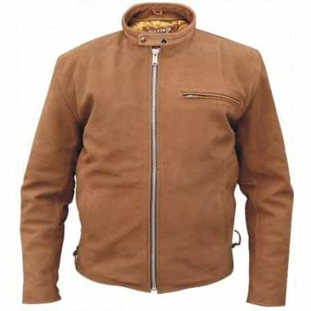 bedinhome - AL2016 Men'S Motorcycle Biker Brown Buffalo Leather 1 zippered Chest Pocket Zip out lining Jacket - All State Leather - Men's Leather Jacket