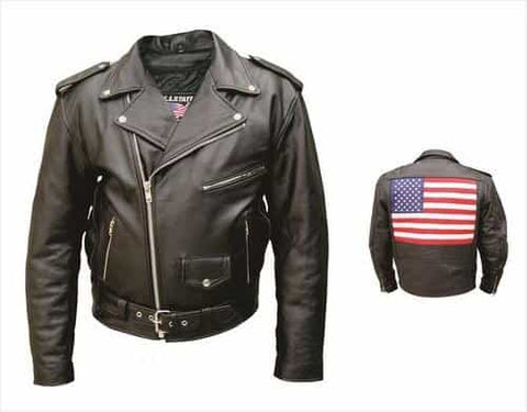 bedinhome - AL2018 Men'S Motorcycle Biker Premium Buffalo Black Leather Silver hardware Jacket With USA Flag - All State Leather - Men's Leather Jacket