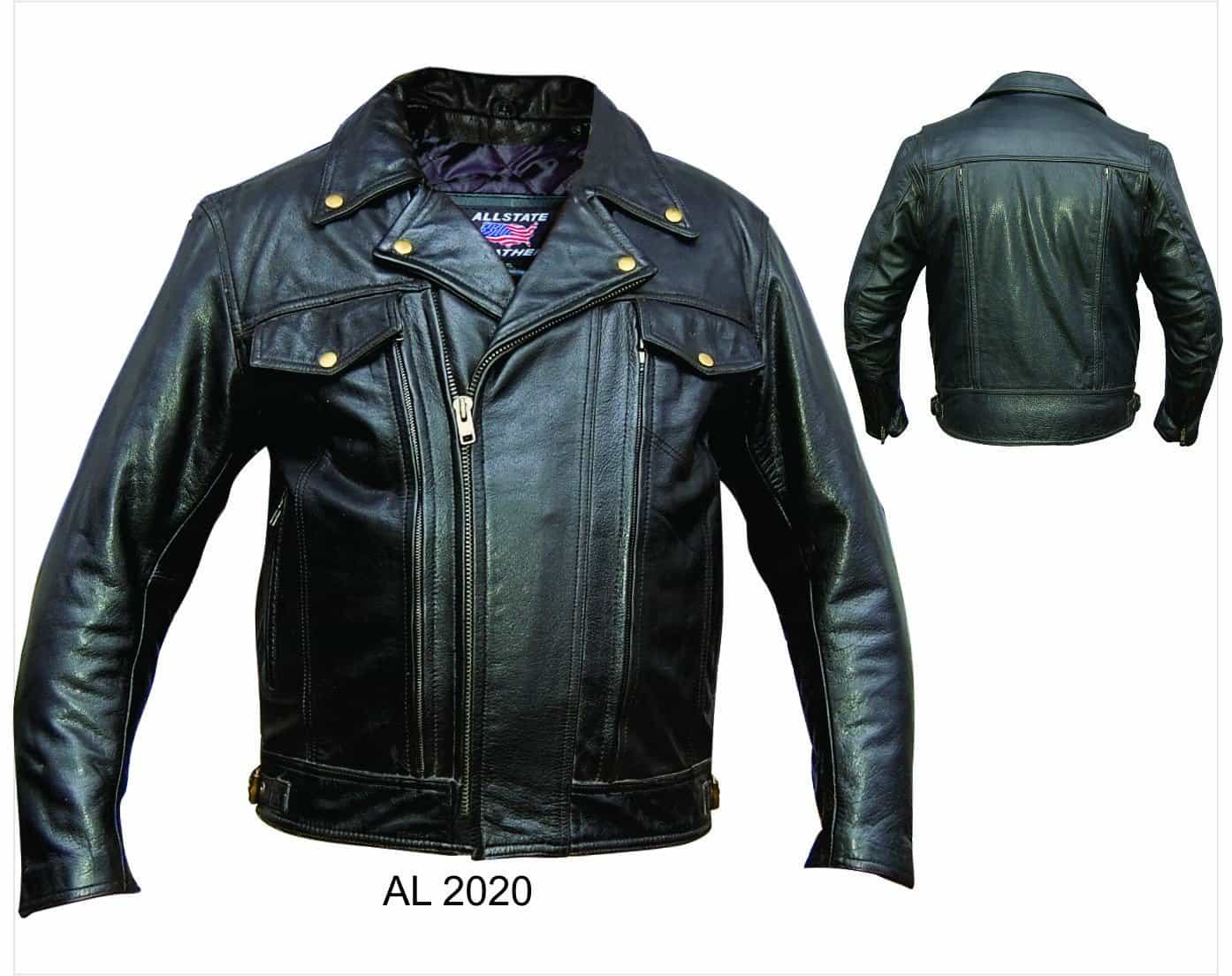 bedinhome - AL2020 Men'S Motorcycle Biker Zip Out Liner Vented Front & Back Buffalo hide Jacket - All State Leather - Men's Leather Jacket