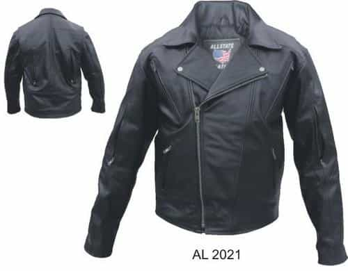 bedinhome - AL2021 Men'S Motorcycle Biker Zip Out Liner Vented Front Back & Sleeves Buffalo hide Jacket - All State Leather - Men's Leather Jacket