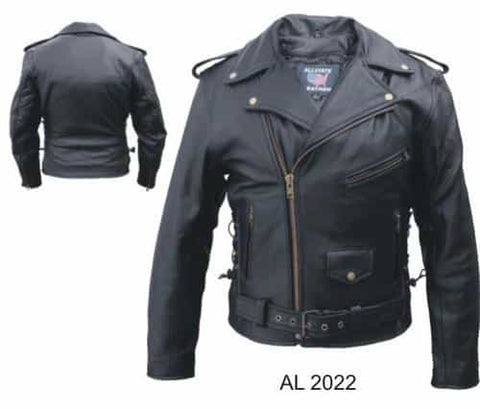 bedinhome - AL2022 Men'S Motorcycle Biker Premium Buffalo Black Leather 3 Front Zippered Pockets Jacket With Antique Hardware - All State Leather - Men's Leather Jacket