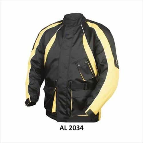 bedinhome - AL2034 Men'S Motorcycle Yellow & Black with Reflective Piping Euro Collar Cordura Biker Jacket - All State Leather - Men's Cordura Jacket