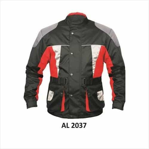 bedinhome - AL2037 Men'S Motorcycle Red,Black,White & Grey with Reflective Piping Euro Collar Cordura Biker Jacket - All State Leather - Men's Cordura Jacket