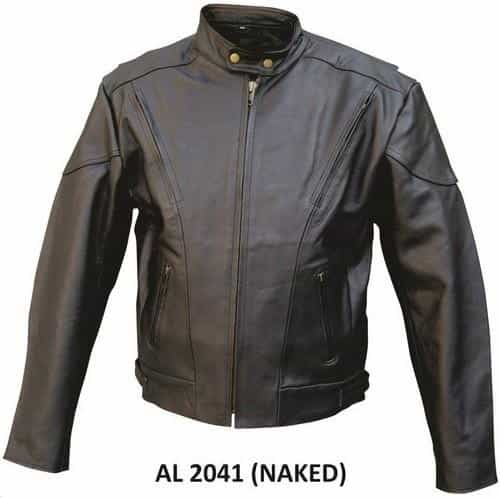 bedinhome - AL2041 Men'S Motorcycle Naked Cowhide Leather 2 Zippered Vents Chest Biker Jacket With Antique Brass Hardware - All State Leather - Men's Leather Jacket