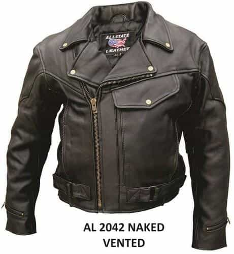 bedinhome - AL2042 Men'S Motorcycle Naked Cowhide Leather full sleeve zip out lining Vented Biker Jacket With Braid Trim - All State Leather - Men's Leather Jacket