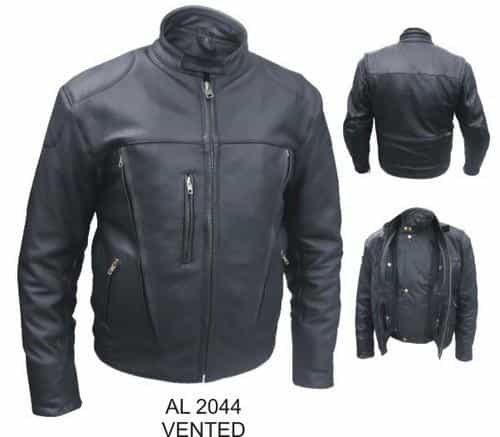 bedinhome - AL2044 Men'S Motorcycle Naked Buffalo hide Zip out liner Vented Front & Back Biker Jacket - All State Leather - Men's Leather Jacket