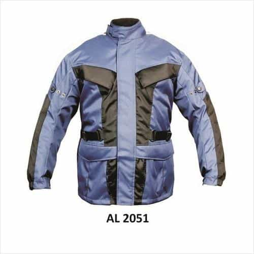 bedinhome - AL2051 Men's Cordura Blue & Black Euro Collar Biker Jacket with Reflective Piping - All State Leather - Men's Cordura Jacket
