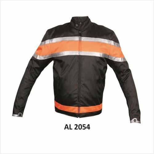 bedinhome - AL2054 Men'S Motorcycle Orange,Silver Stripe Across Chest Zippered Sleeves Cordura Biker Jacket - All State Leather - Men's Cordura Jacket