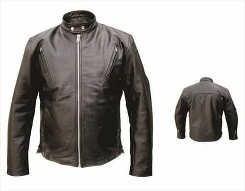 bedinhome - AL2075 Men'S Motorcycle Premium Buffalo Leather Zippered vents chest & back Vented Biker Jacket - All State Leather - Men's Leather Jacket