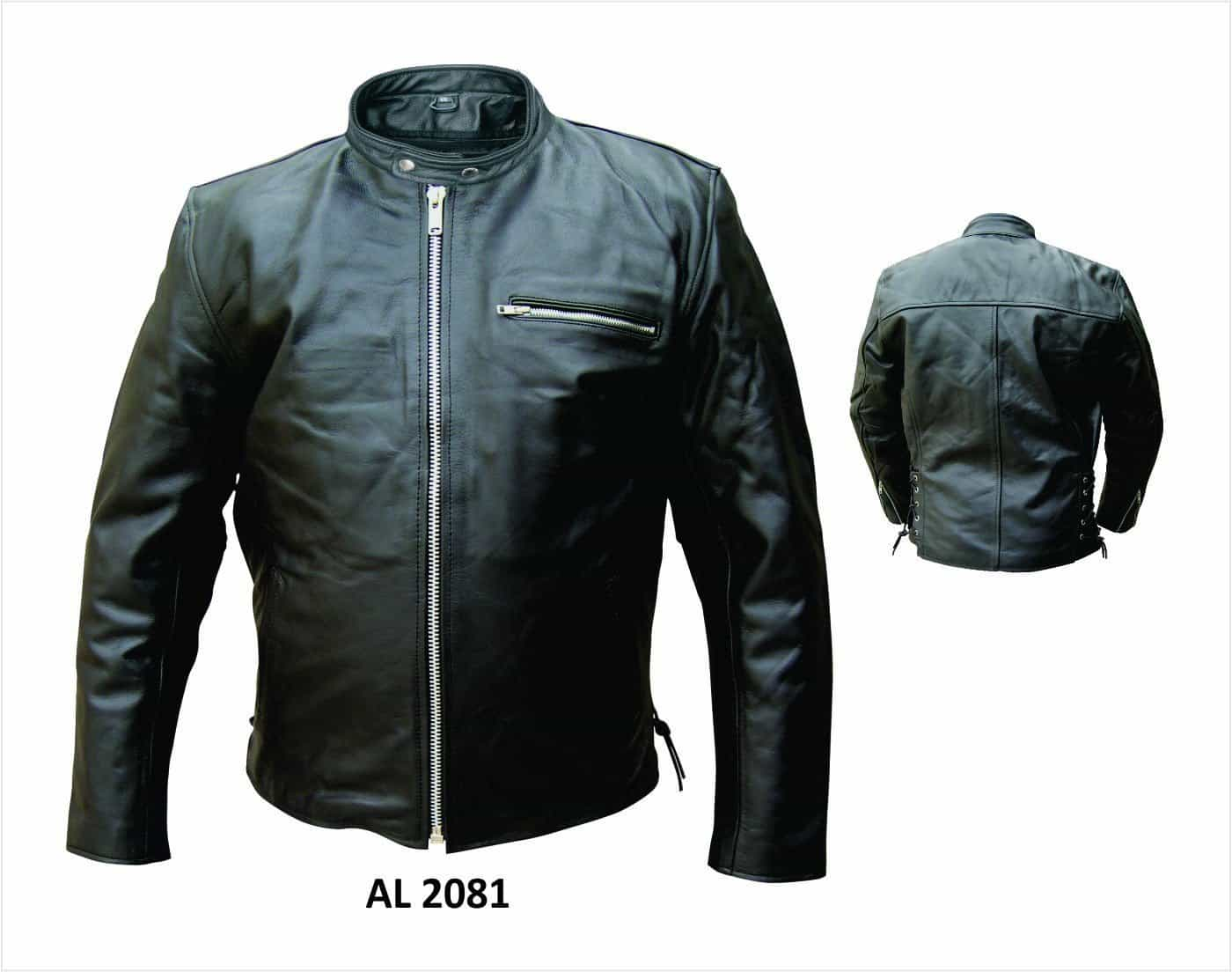 bedinhome - AL2081 Men'S Motorcycle Premium Buffalo Leather 1 Zippered chest Pocket Biker Jacket - All State Leather - Men's Leather Jacket
