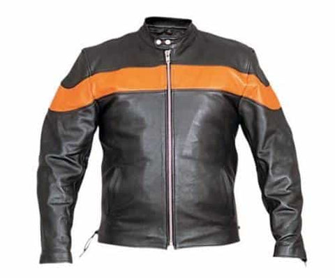 bedinhome - AL2082 Men's Fashion Two Tone Black & Orange Biker Zip Out Liner Jacket With Euro Collar - All State Leather - Men's Leather Jacket