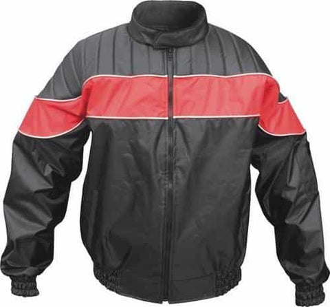 bedinhome - AL2091 Men's Fashion Red/Black Water Resistant 100% Nylon Rain Gear Jacket - All State Leather - Men's Rain Gear Jacket