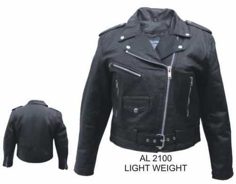 bedinhome - AL2100 Ladies Basic Motorcycle Lambskin Leather 3 front Zippered Pockets Biker Jacket With Silver Hardware - All State Leather - Ladies Leather Jacket