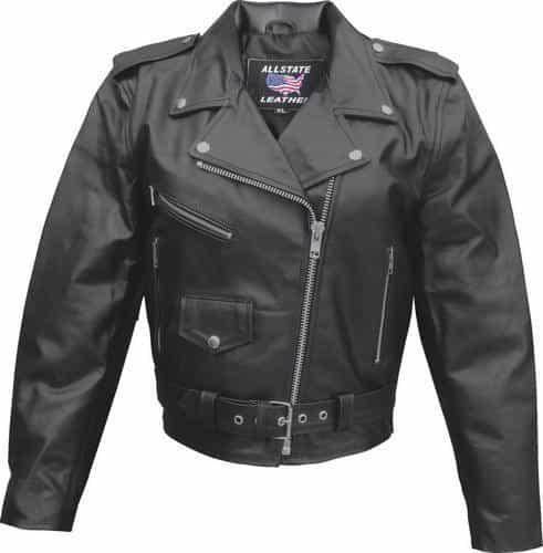 bedinhome - AL2101 Ladies Basic Motorcycle Split Cowhide 3 front zippered 1 Snap Pockets Biker Jacket With Silver Hardware - All State Leather - Ladies Leather Jacket