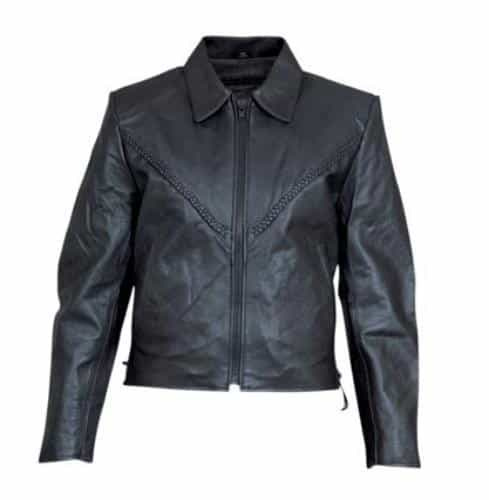 bedinhome - AL2102 Ladies Motorcycle Lambskin Leather Full Sleeve removable zip out lining Braided Jacket With Black Hardware - All State Leather - Ladies Leather Jacket