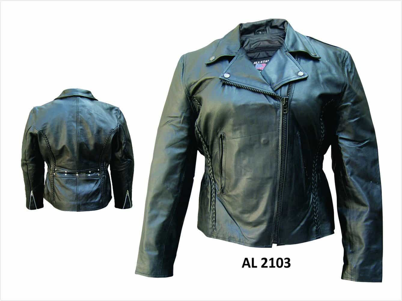 bedinhome - AL2103 Ladies Motorcycle Lambskin Leather Vertical Braiding on front & back Jacket With Black Hardware - All State Leather - Ladies Leather Jacket