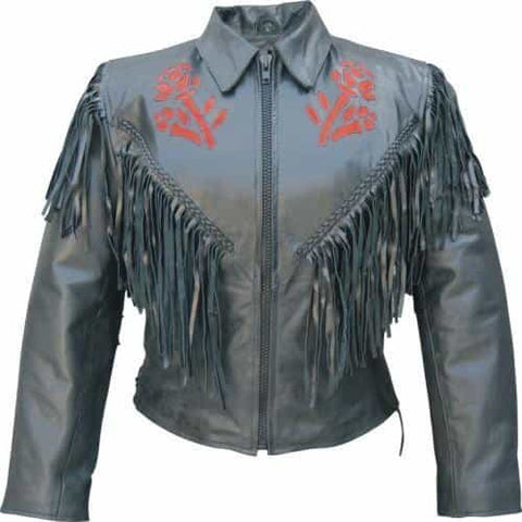 bedinhome - AL2105 Ladies Motorcycle Red Rose fringe Cowhide Leather Braided trim front back & sleeves Biker Jacket - All State Leather - Ladies Leather Jacket