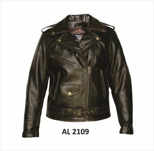 bedinhome - AL2109 Ladies Motorcycle Retro brown Buffalo Leather 3 front zippered Pockets Biker Jacket With Antique Hardware - All State Leather - Ladies Leather Jacket