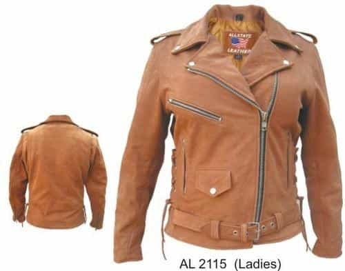 bedinhome - AL2115 Ladies Motorcycle Brown Buffalo Leather 3 front zippered 1 snap pocket Biker Jacket With Silver Hardware - All State Leather - Ladies Leather Jacket