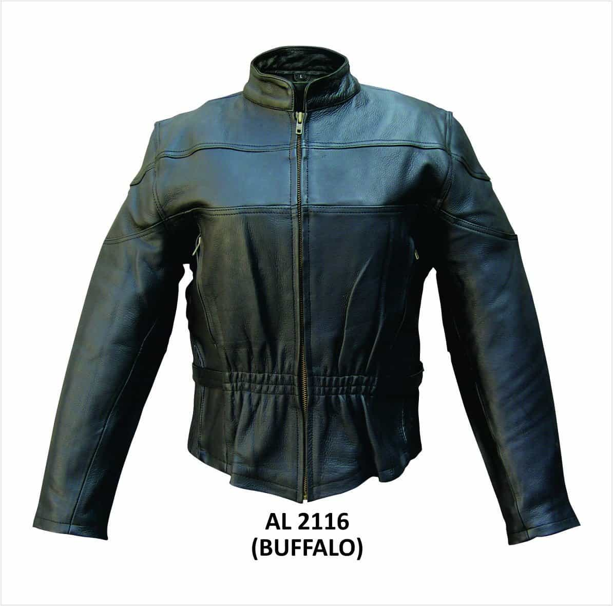 bedinhome - AL2116 Ladies Motorcycle Buffalo full sleeve removable Zip Out lining 2 Zipper Chest Vented Biker Jacket - All State Leather - Ladies Leather Jacket