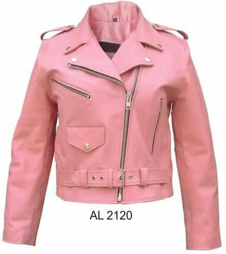 bedinhome - AL2120 Ladies Motorcycle Pink basic Cowhide Leather 3 front Zippered Pockets Biker Jacket - All State Leather - Ladies Leather Jacket