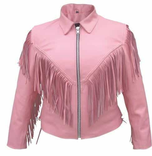 bedinhome - AL2121 Ladies Motorcycle Pink Braided fringe Cowhide Leather 2 front & 2 inside Pockets Biker Jacket - All State Leather - Ladies Leather Jacket