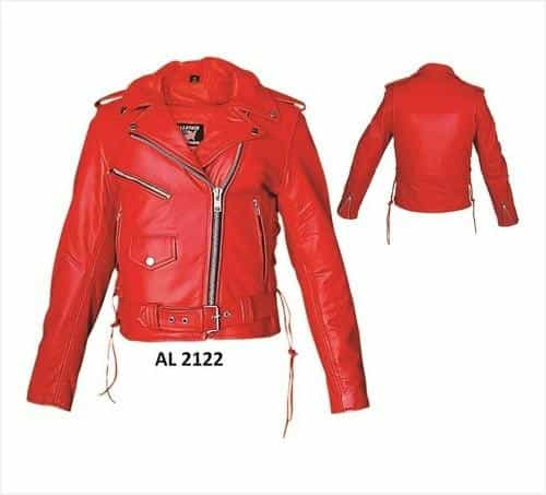 bedinhome - AL2122 Ladies Motorcycle Red Premium Cowhide Leather Side Laces Zippered Sleeves Biker Jacket - All State Leather - Ladies Leather Jacket