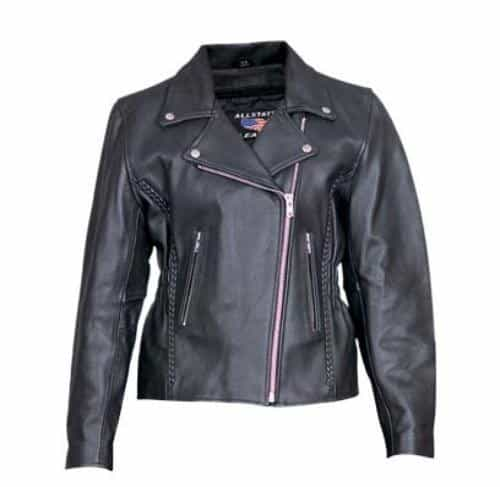 bedinhome - AL2130 Ladies Motorcycle Analine Cowhide 2 zippered Pockets Vertical braiding On Front & Back biker Jacket - All State Leather - Ladies Leather Jacket