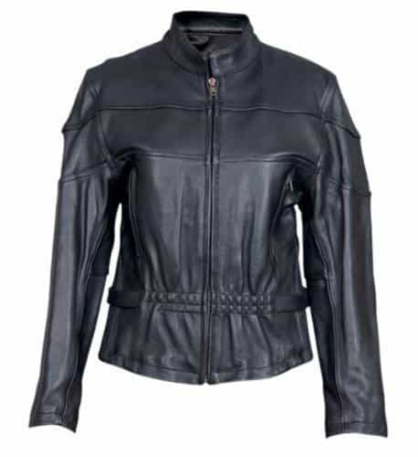 bedinhome - AL2140 Ladies Motorcycle Drum Dyed Naked Cowhide 2 Chest Vents 2 Zippered Back Vented Biker Jacket - All State Leather - Ladies Leather Jacket