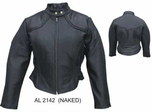 bedinhome - AL2142 Ladies Motorcycle Drum Dyed Naked Cowhide Leather 2 Front Zippered Pockets Biker Jacket With Braid Trim - All State Leather - Ladies Leather Jacket