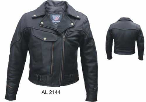 bedinhome - AL2144 Ladies Motorcycle Naked Leather Full Sleeve Removable Zip Out Lining Vented Biker Jacket - All State Leather - Ladies Leather Jacket