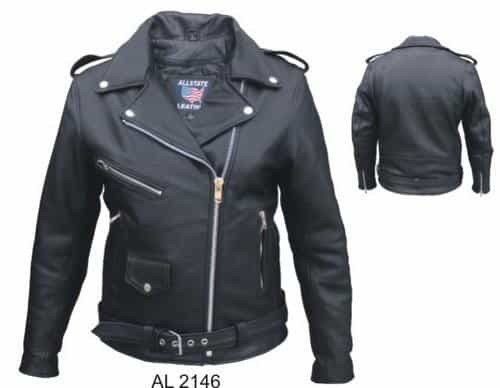 bedinhome - AL2146 Ladies Motorcycle Naked Leather 3 front Zippered Pockets full Cut Biker Jacket - All State Leather - Ladies Leather Jacket