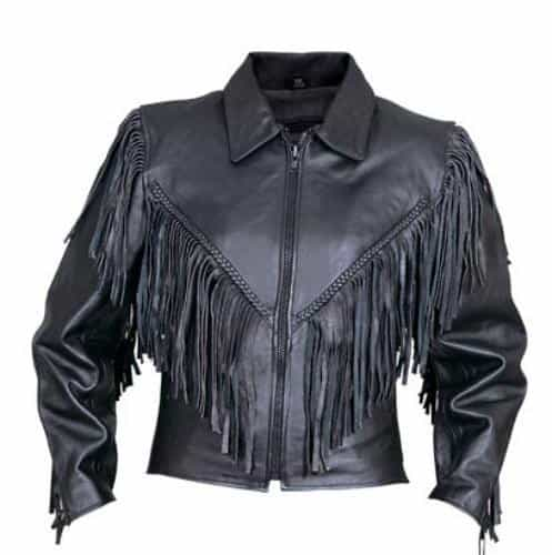 bedinhome - AL2155 Ladies Motorcycle Cowhide Leather Braided trim on the front back & sleeves Biker Jacket With fringe - All State Leather - Ladies Leather Jacket