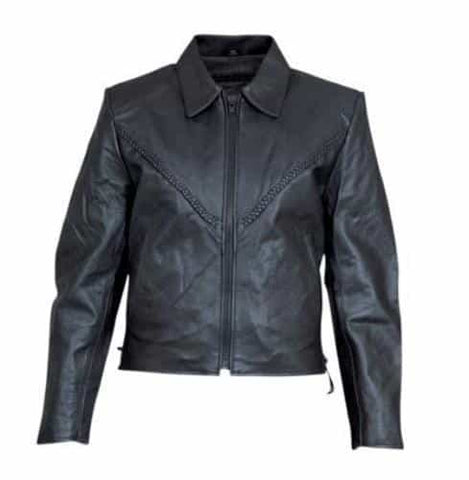 bedinhome - AL2156 Ladies Motorcycle Cowhide Leather Full Sleeve Removable zip out lining Biker Braided Jacket - All State Leather - Ladies Leather Jacket