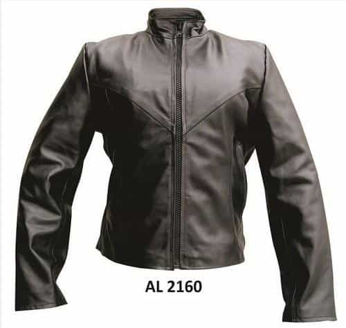 bedinhome - AL2160 Ladies Motorcycle Buffalo Leather full sleeve removable zip out lining Plain Biker Jacket - All State Leather - Ladies Leather Jacket