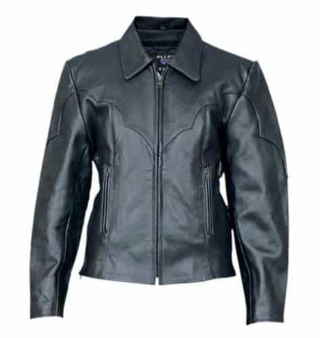 bedinhome - AL2161 Ladies Motorcycle Western style riding Cowhide Leather 2 front zippered pockets Biker Jacket - All State Leather - Ladies Leather Jacket