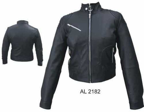 bedinhome - AL2182 Ladies Motorcycle Biker Lambskin Soft Leather Euro Collar Jacket With Silver Hardware - All State Leather - Ladies Rain Gear Jacket