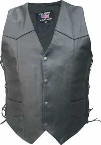 bedinhome - AL2202 Men's Motorcycle basic side laced Buffalo Leather 2 front 2 inside pockets Vest - All State Leather - Men's Leather Vest