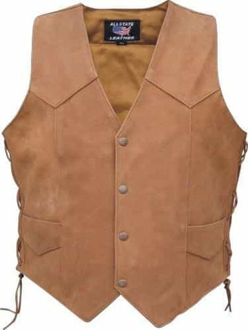 bedinhome - AL2217 Men's Brown basic side laced Buffalo Leather 2 front 2 inside pockets vest - All State Leather - Men's Leather Vest