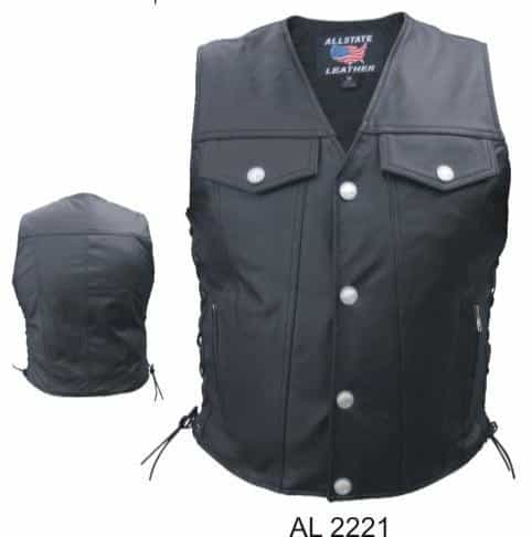 bedinhome - AL2221 Men's Fashion Denim Style Analine Cowhide Leather Vest With Silver Hardware - All State Leather - Men's Leather Vest