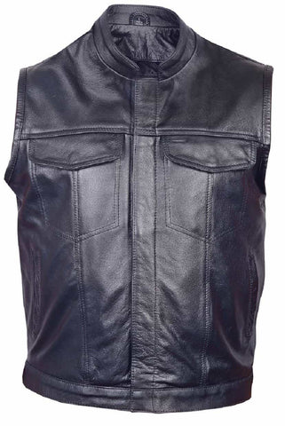 bedinhome - AL2230 Men's Denim style hidden snaps & stand up collar Premium Buffalo Leather vest - All State Leather - Men's Leather Vest