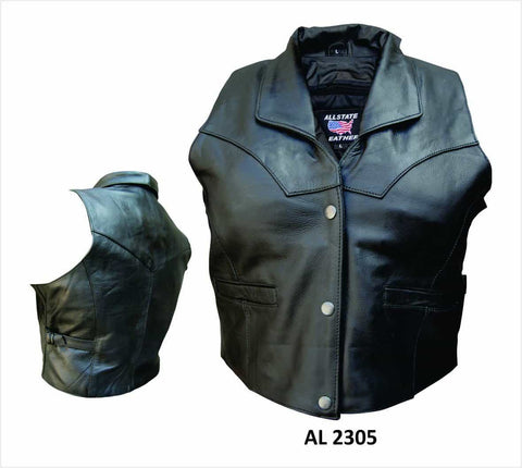 bedinhome - AL2305 Ladies Cowhide Leather 2 front 2 inside pockets & adjustable side buckles Vest With Collar - All State Leather - Ladies Leather Vest
