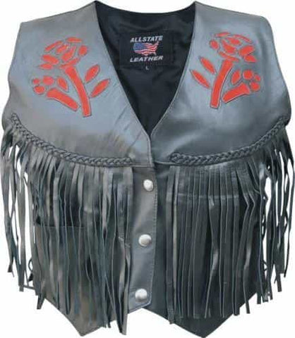 bedinhome - AL2306 Ladies Red rose fringe Analine Cowhide Leather 2 front 2 inside pockets Vest - All State Leather - Ladies Leather Vest