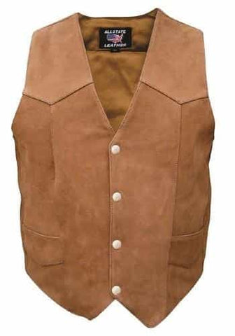 bedinhome - AL2316 Ladies Fashion Motorcycle Plain Brown Buffalo Leather Vest With Silver Hardware - All State Leather - Ladies Leather Vest